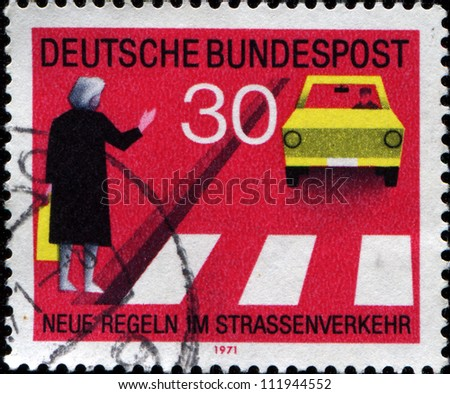 GERMANY - CIRCA 1971: A stamp printed in  German Federal Republic shows Observe Pedestrian Crossings, new traffic rules, circa 1971