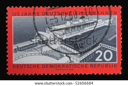 GERMANY - CIRCA 1960: A stamp printed in Germany dedicated to 150 years of railway, circa 1960