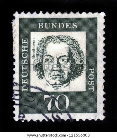 "GERMANY - CIRCA 1961: A stamp printed in Germany from the ""Famous Germans"" issue showing German composer and pianist Ludwig van Beethoven, circa 1961."