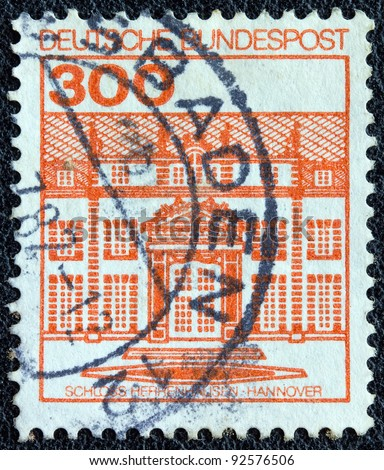 "GERMANY - CIRCA 1982: A stamp printed in Germany from the ""Palaces and Castles "" issue shows Herrenhausen castle, Hanover, circa 1982."