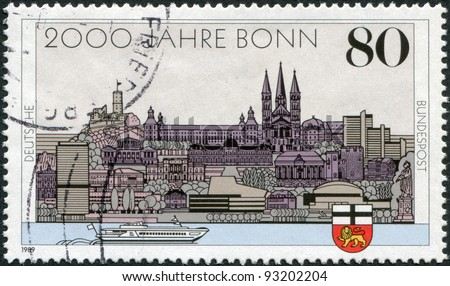 GERMANY - CIRCA 1989: A stamp printed in Germany, is dedicated to the 2000th anniversary of Bonn and the 40th anniversary of the capital West Germany, circa 1989