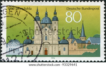 GERMANY - CIRCA 1994: A stamp printed in Germany, is devoted to 1250 anniversary of the city of Fulda, circa 1994