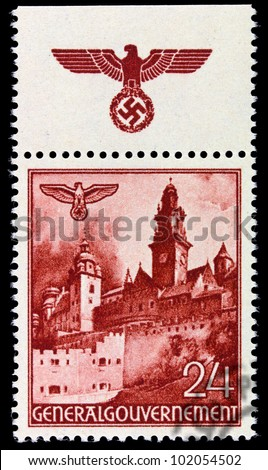GERMANY - CIRCA 1940: A stamp printed in Germany showing buildings of Poland (Castle Wawel, Krakow) , circa 1940
