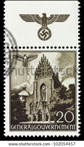 GERMANY - CIRCA 1940: A stamp printed in Germany showing buildings of Poland (Dominican Church, Krakow) , circa 1940