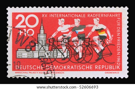 GERMANY - CIRCA 1962: A stamp printed in Germany showing cyclists, circa 1962