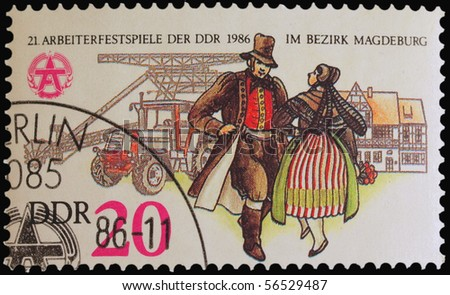 GERMANY - CIRCA 1986: A stamp printed in Germany showing Magdeburg workers festival, circa 1986