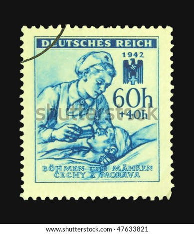 GERMANY - CIRCA 1945: A stamp printed in Germany showing nurse circa 1945