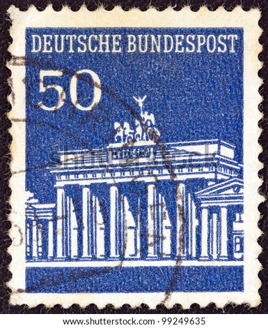 GERMANY - CIRCA 1966: A stamp printed in Germany shows Brandenburg Gate, Berlin, circa 1966. - stock photo