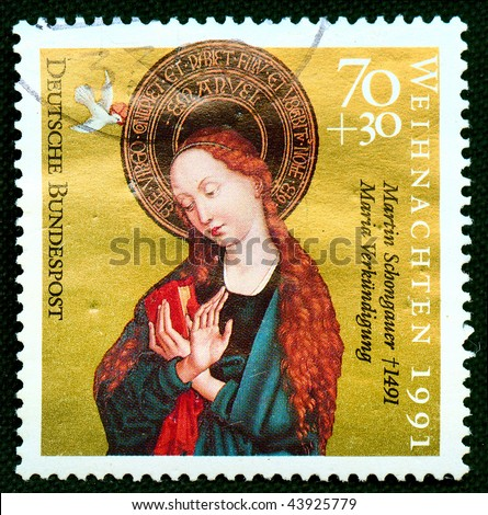 Germany - CIRCA 1991: A stamp printed in Germany shows Christmas scene - Mother of God with child, circa 1991