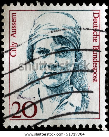 GERMANY - CIRCA 1989: A  stamp printed in Germany  shows Cilly Aussem (1909-63), tennis champion, circa 1989