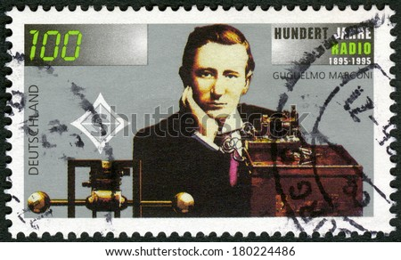 GERMANY- CIRCA 1995: A stamp printed in Germany shows Guglielmo Marconi (1874-1937), wireless apparatus, Radio century, circa 1995