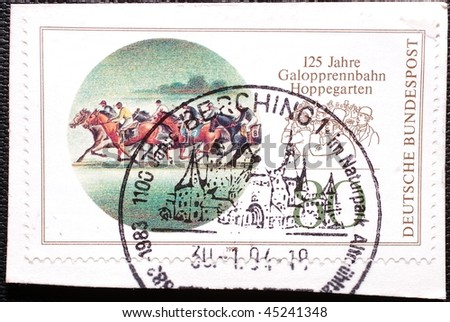 GERMANY - CIRCA 1994: A stamp printed in Germany shows image of racehorses, circa 1994