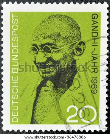 GERMANY - CIRCA 1969: A stamp printed in Germany shows Mahatma Gandhi, circa 1969