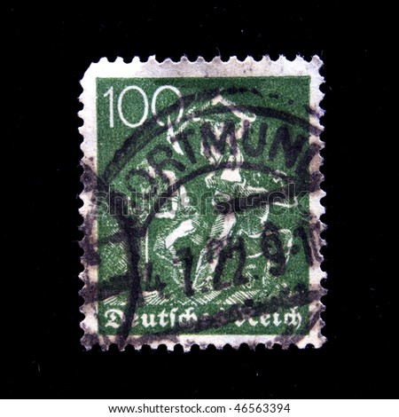 GERMANY - CIRCA 1922: A stamp printed in Germany shows miners, circa 1922