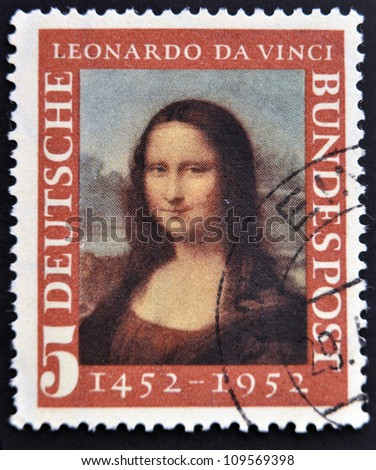 GERMANY- CIRCA 1952 : A stamp printed in Germany shows Mona Lisa, 500th anniversary of Leonarde da Vinci's birth, circa 1952