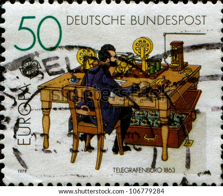 GERMANY - CIRCA 1979: A stamp printed in Germany, shows Telegraph office, in 1863, circa 1979