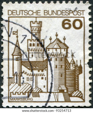 GERMANY - CIRCA 1977: A stamp printed in Germany, shows the fortress Marksburg, circa 1977