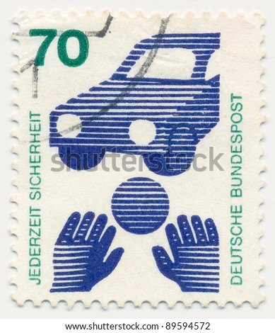 GERMANY - CIRCA 1973: A stamp printed in Germany shows Traffic safety (ball rolling before car), series, circa 1973
