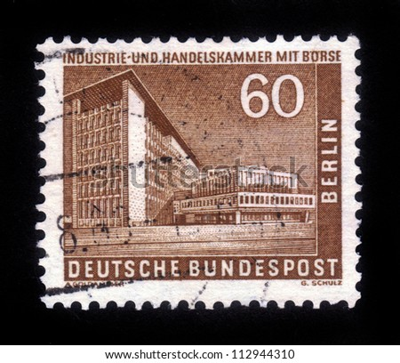 GERMANY - CIRCA 1957: A stamp printed in Germany (West Berlin), shows the building of Chamber of Commerce and Industry and Market in West Berlin , circa 1957