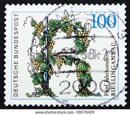 GERMANY - CIRCA 1990: a stamp printed in the Germany shows Riesling Vineyards, 500th Anniversary, circa 1990
