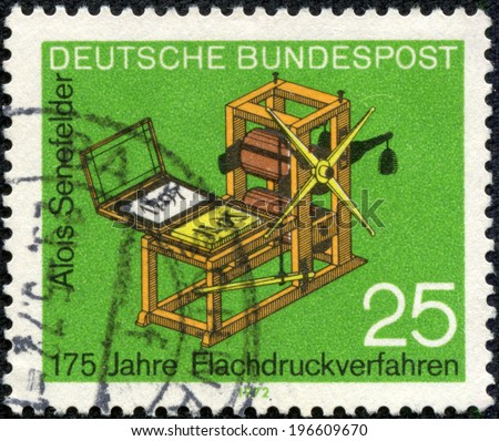 GERMANY - CIRCA 1972: a stamp printed in the Germany shows Senefelder's Lithography Press, 175th Anniversary of the Invention of the Lithographic Printing Process, circa 1972