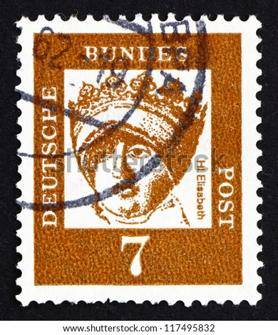 GERMANY - CIRCA 1961: a stamp printed in the Germany shows St. Elizabeth of Thuringia, Princess of the Kingdom of Hungary, Catholic Saint, circa 1961