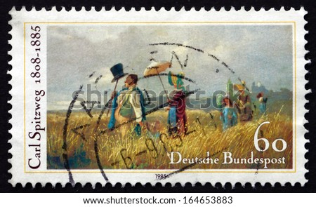 GERMANY - CIRCA 1985: a stamp printed in the Germany shows The Sunday Walk, Painting by Carl Spitzweg, circa 1985