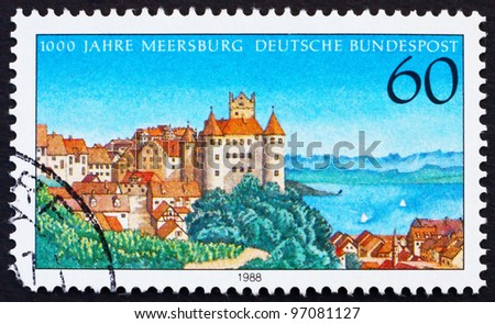 GERMANY - CIRCA 1988: A stamp printed in the Germany shows Town of Meersburg, Millennium, circa 1988