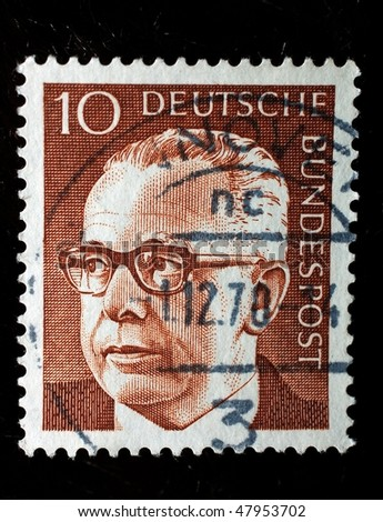 GERMANY - CIRCA 1972: A stamp shows image of President Gustav Heinemann with value 10 pfennigs, circa 1972