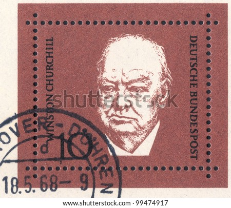 GERMANY - CIRCA 1968: An old used German postage stamp issued in honor of the British Prime Minister Sir Winston Leonard Spencer-Churchill (1874 - 1965); series, circa 1968