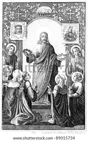 GERMANY - CIRCA 1893: Blessed are the Pure in Heart. Steel engraving of Carl Mayer. Book of Psalms. Germany, circa 1893