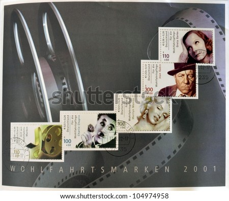 GERMANY - CIRCA 2001: Collection stamps printed in Germany dedicated to cinema, shows Greta Garbo, Marilyn Monroe, Charles Chaplin and roll of film, circa 2001