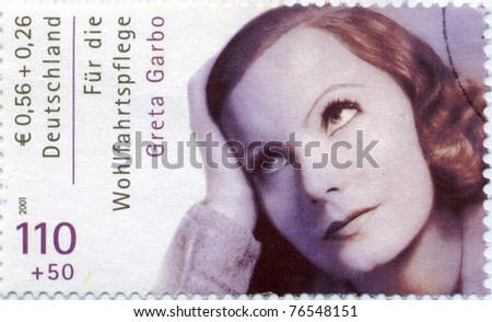 GERMANY - CIRCA 2001:  Germany stamp. The Hollywood actress Greta Garbo starred in 30 films, circa 2001