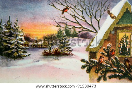 GERMANY - CIRCA 1945: Greeting Christmas postcard printed in the Germany shows winter landscape, circa1945