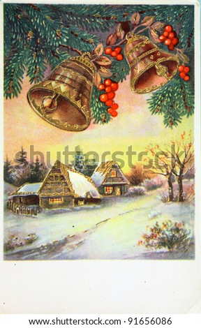 GERMANY - CIRCA 1945: Greeting Christmas postcard printed in the Germany shows winter landscape, circa 1945