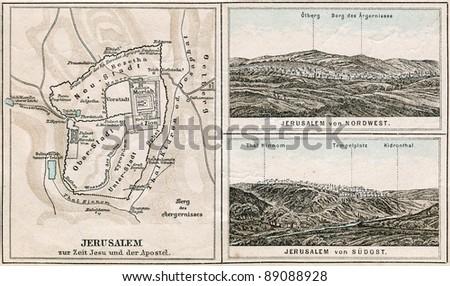 "GERMANY - CIRCA 1895: Map of Jerusalem and surroundings. Atlas B. Schwarze, Leipzig, Printing House ""Privilegierte Wurttembergische Bibelanstalt"", Germany, 1895"