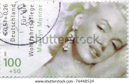 GERMANY - CIRCA 2001: Marilyn Monroe (1926-1962) Germany stamp. The Hollywood actress starred in 30 films,  circa 2001