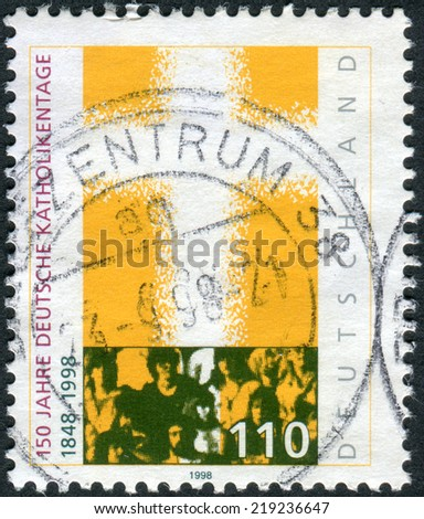 GERMANY - CIRCA 1998: Postage stamp printed in Germany, dedicated to the 150th anniversary of the Congress of German Catholics, circa 1998