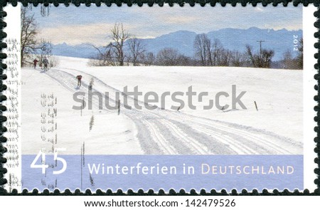 GERMANY - CIRCA 2012: Postage stamps printed in Germany, dedicated to winter holidays in Germany, shows winter landscape, circa 2012