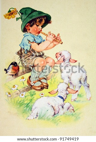 GERMANY - CIRCA 1952: Postcard printed in GDR shows Boy playing a pipe two lambs, circa 1952
