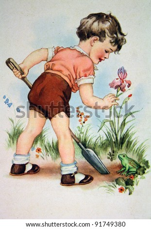 GERMANY - CIRCA 1952: Postcard printed in GDR shows Boy with a spade in the garden, circa 1952