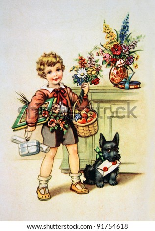 stock photo : GERMANY - CIRCA 1952: Postcard printed in GDR shows boy with gifts, circa 1952