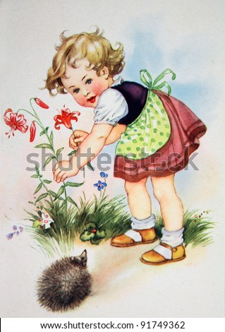 GERMANY CIRCA 1952 Postcard printed in GDR shows Girl breaks a flower