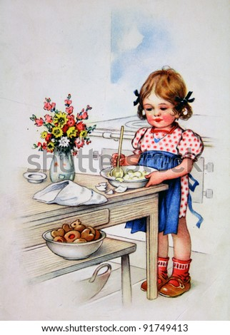 GERMANY - CIRCA 1952: Postcard printed in GDR shows girl coocking, circa 1952