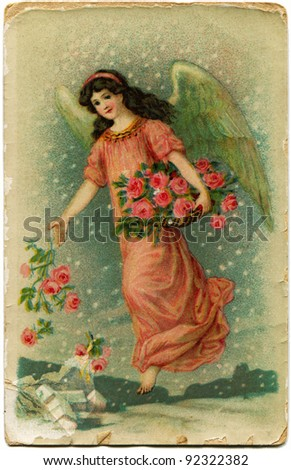 GERMANY - CIRCA 1901: Reproduction of antique greeting Christmas postcard shows angel sprinkles earth with roses, circa 1901