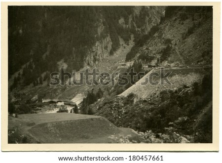 GERMANY - CIRCA 1950s: An antique photo of buildings in mountains