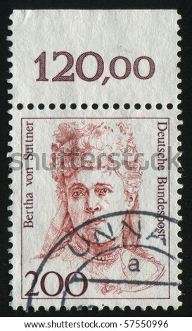 GERMANY- CIRCA 1986: stamp printed by Germany, shows Bertha von Suttner, nobel Peace Prize winner, circa 1986.