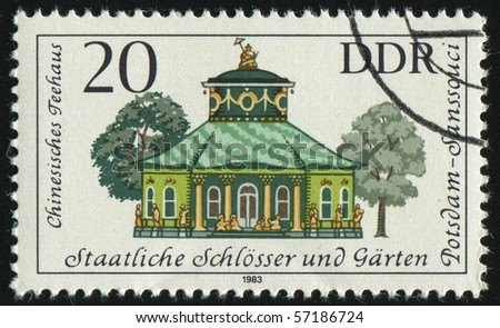 GERMANY- CIRCA 1983: stamp printed by Germany, shows Governmental Palaces, Potsdam Gardens, Chinese teahouse, circa 1983.