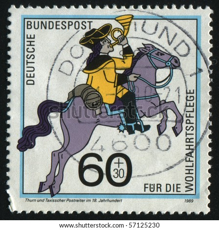 GERMANY- CIRCA 1989: stamp printed by Germany, shows History of mail carrying, Postrider, circa 1989.