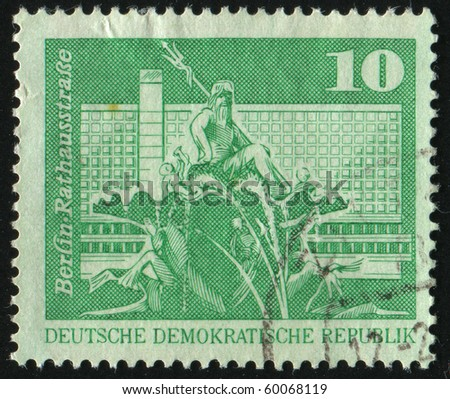 GERMANY - CIRCA 1973: stamp printed by Germany, shows Neptune Fountain, City Hall Street, Berlin, circa 1973. - stock photo